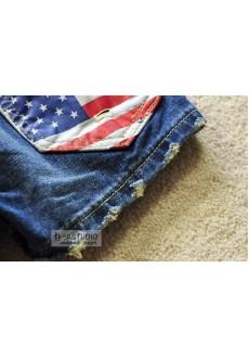 Джинсовые шортики с американским флагом